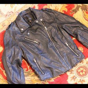 Faux Leather Black Jacket with Asymmetrical Zipper